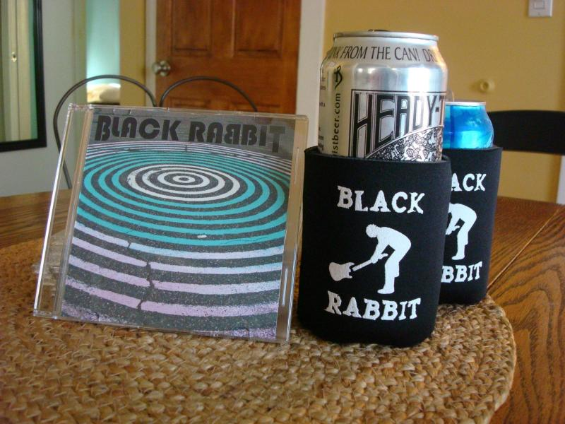 Black Rabbit merchandise CD EP and beer coolies