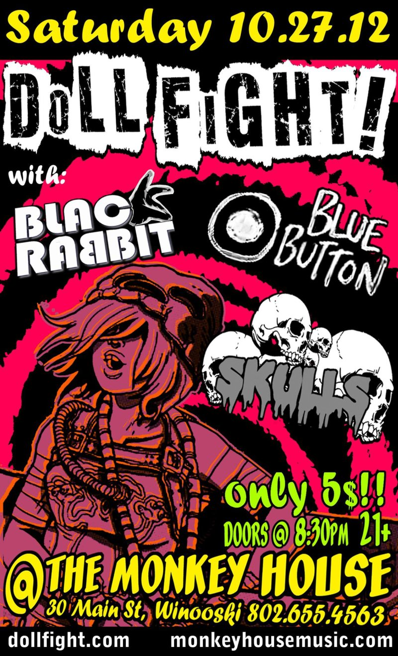 punk rock halloween party 10/27 at the monkey house black rabbit doll fight blue button skulls