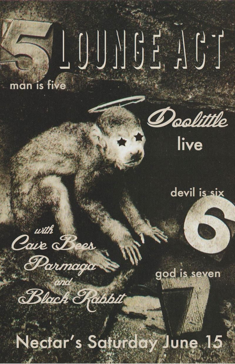 Lounge Act plays The Pixies' Doolittle Nectars June 15 Burlington VT Black Rabbit Cave Bees Parmaga