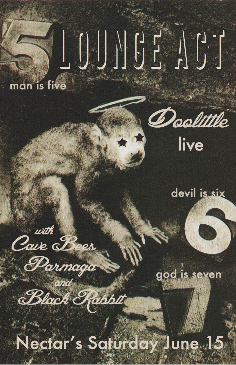 Lounge Act plays The Pixies' Doolittle Nectars June 15 Burlington VT Black Rabbit Cave Bees Parmaga