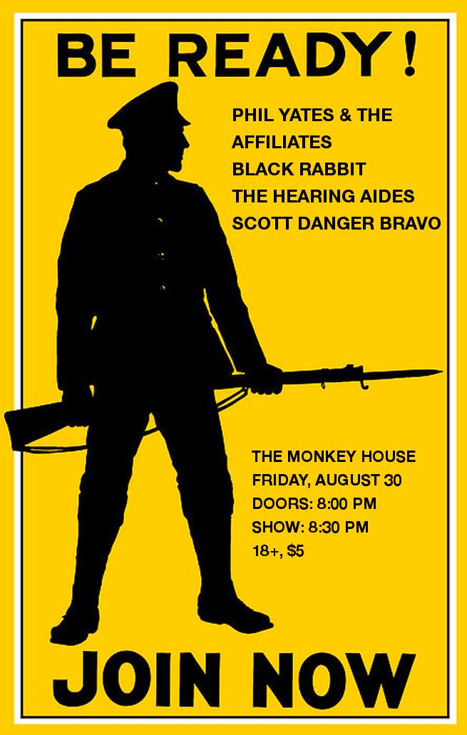 Monkey House August 30, 2012 Phil Yates & The Affiliates, Black Rabbit, The Hearing Aides Winooski VT