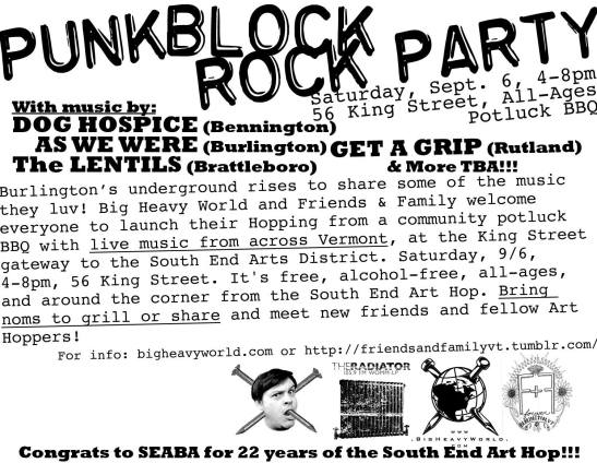 Art Hop Punk Rock Block Party 9.6.14 Burlington VT punk show