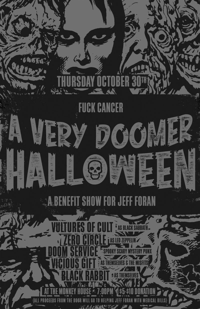 monkey house 10.31.14 halloween show with vultures of cult, zero circle, doom service, viscious gift and black rabbit