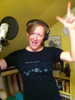 Darlene recording vocals for the new Black Rabbit record at Headbangers Hall, Burlington, VT